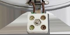 Тип подключения 11. Вывод токопровода в виде керамической колодки на выносной ножке.